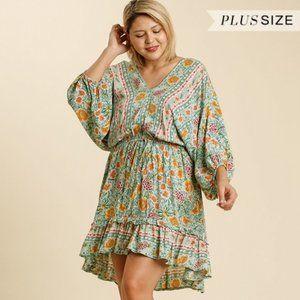 Umgee Plus Size Mint Floral Balloon Sleeve Dress